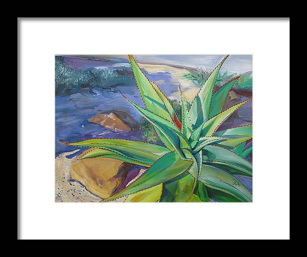 Plants Framed Print featuring the painting Aloe Vera Number Two by Karen Doyle
