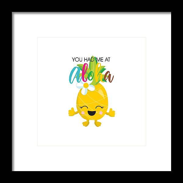 Pineapple Framed Print featuring the digital art Aloha by Alyssa Phillips