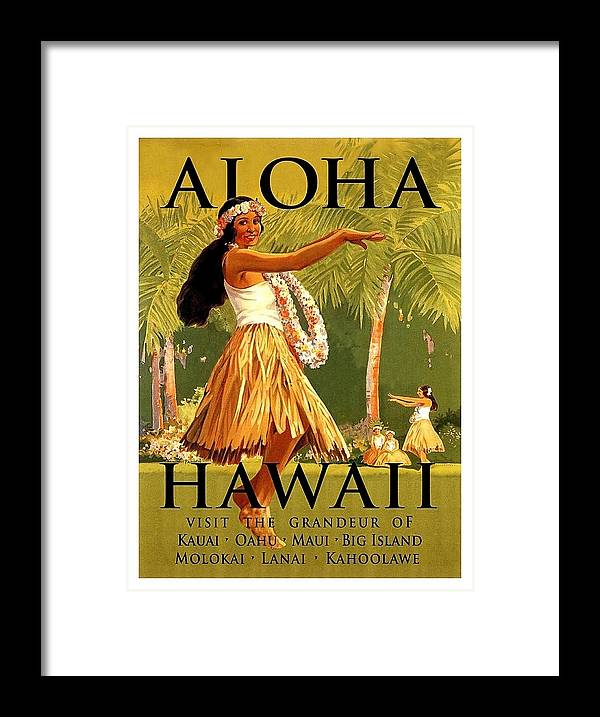 Aloha Framed Print featuring the painting Aloha Hawaii, Hula Girl Dance by Long Shot
