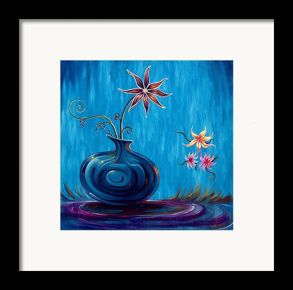 Fantasy Floral Scape Framed Print featuring the painting Aloha Rain by Jennifer McDuffie