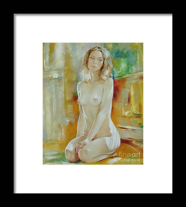 Art Framed Print featuring the painting Alone At Home by Sergey Ignatenko