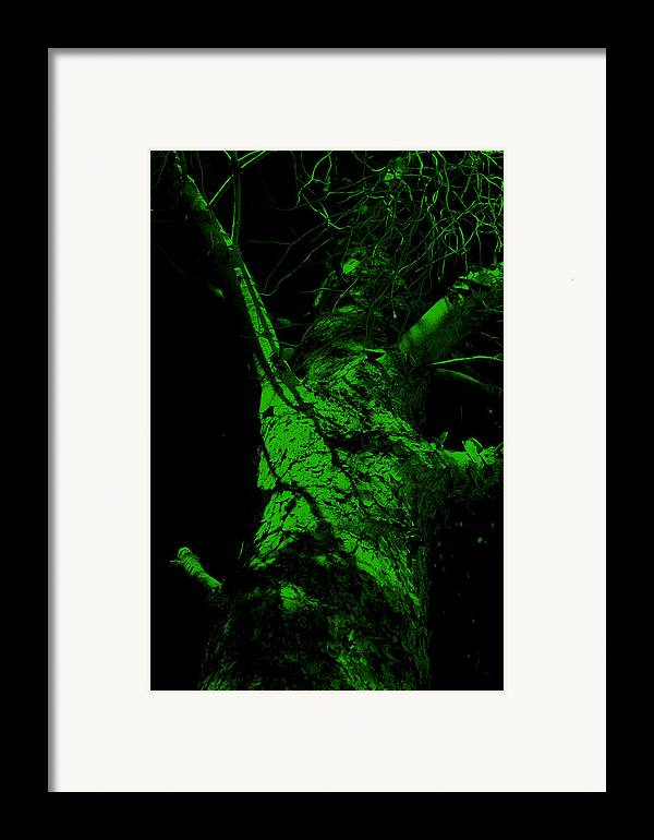 Tree Framed Print featuring the painting Alone Darkness 1 by Lounge Mode Productions Art