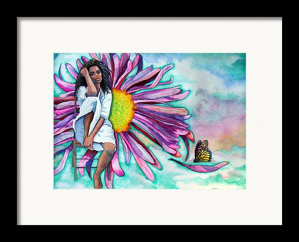 Woman/flower/surrealism Framed Print featuring the painting Alone by Gail Zavala