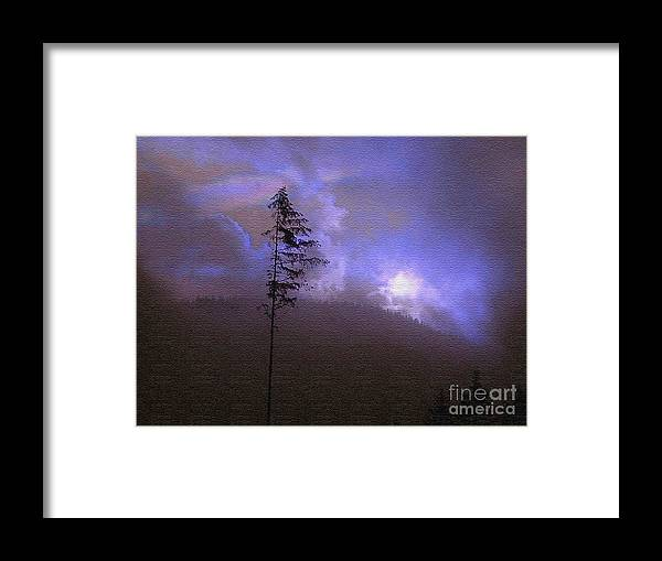 Blue Framed Print featuring the photograph Alone In The Blue Fog by Terri Thompson
