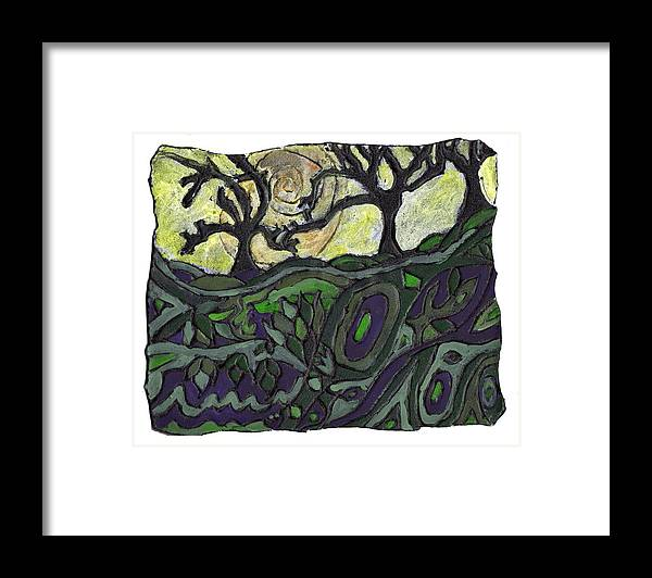 Woods Framed Print featuring the painting Alone In The Woods by Wayne Potrafka
