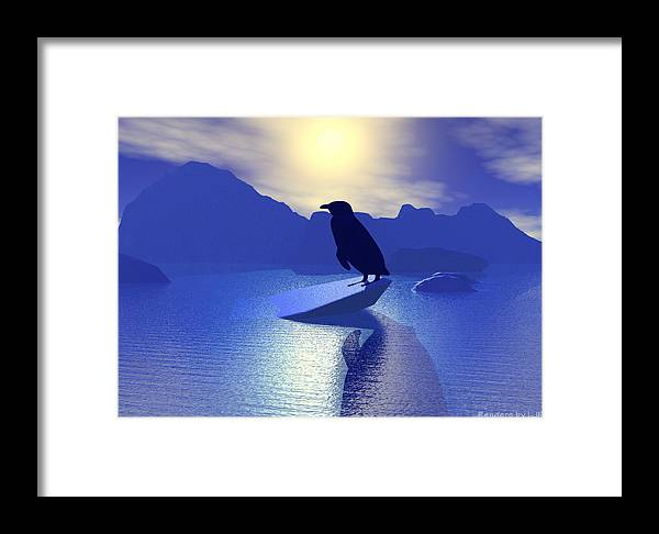 Animal Bird Environment Winter Cold  Framed Print featuring the digital art Alone by Lisa Roy