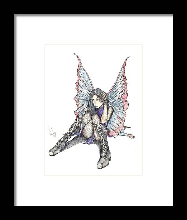 Dark Fairy Doomed Evil Boots Gothic Fae Faery Framed Print featuring the mixed media Alone by Preston Shupp