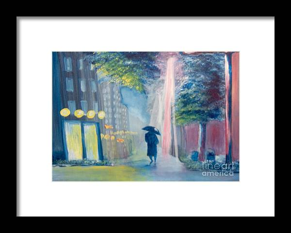 Cityscape Framed Print featuring the painting Alone by Saundra Johnson