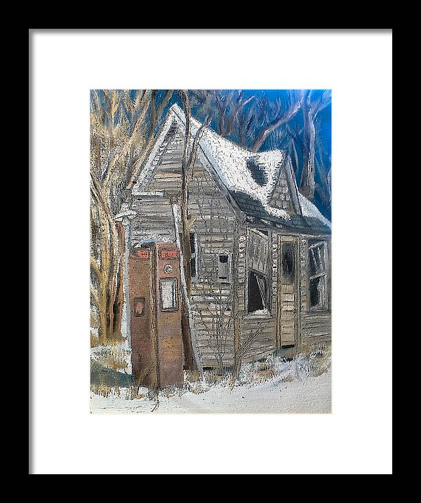 Landscape Framed Print featuring the painting Along A Cold Country Road by Lee Stoll