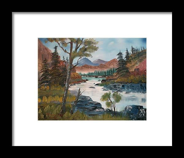 Oil Framed Print featuring the painting Along Canyon Drive Paradise Montana by Larry Hamilton