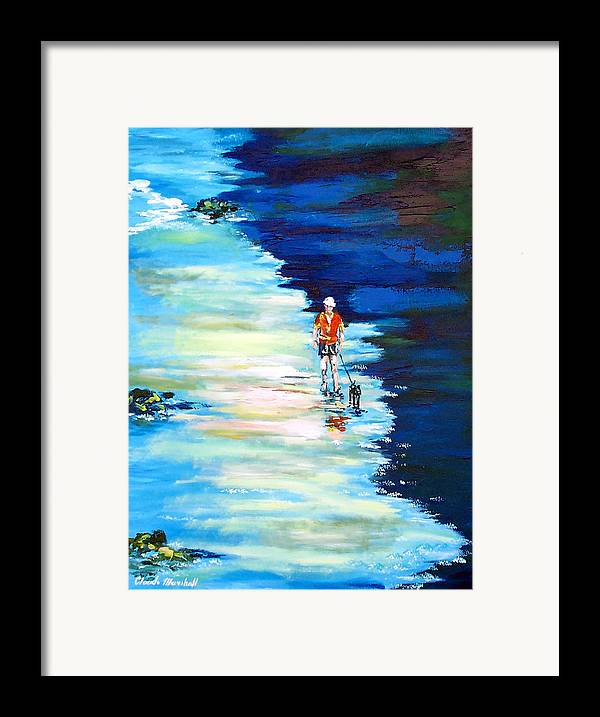 Art Framed Print featuring the painting Along The Beach by Claude Marshall