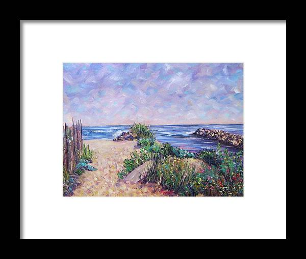 Shore Framed Print featuring the painting Along The Breachway Rhode Island by Richard Nowak