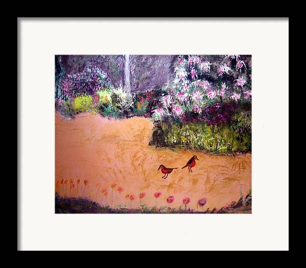 Landscape Framed Print featuring the painting Along The Garden Path by Michela Akers