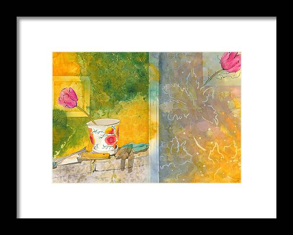 Garden Framed Print featuring the painting Along The Garden Wall by Jean Blackmer