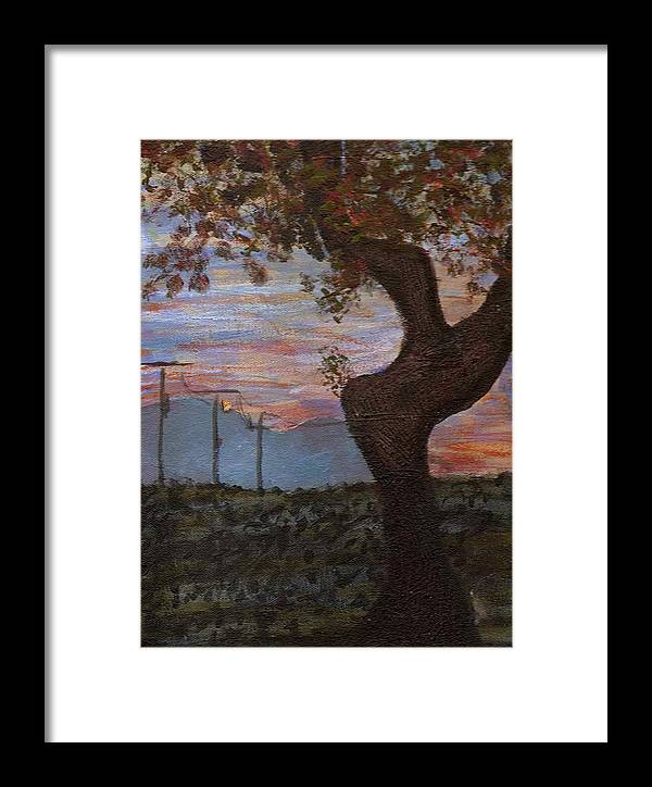 Landscape Framed Print featuring the painting Along The Highway To Santa Fe by Rika Maja Duevel