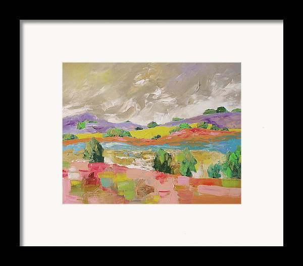 Original Framed Print featuring the painting Along The River by Linda Monfort