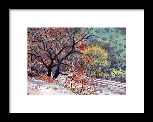 Oak Tree Framed Print featuring the painting Along The Tracks by Donald Maier