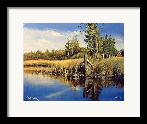Landscape Framed Print featuring the painting Along The Way by William Brody