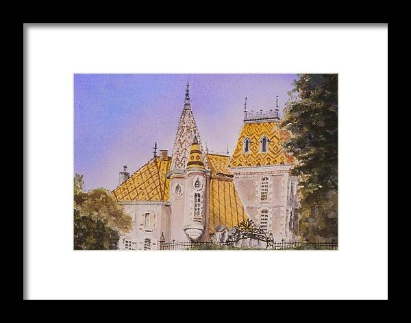 Vineyard Framed Print featuring the painting Aloxe Corton Chateau Jaune by Mary Ellen Mueller Legault