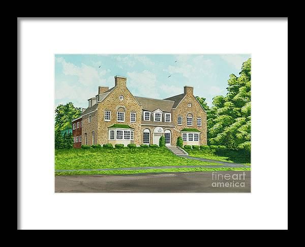 Colgate University Fraternity House Framed Print featuring the painting Alpha Tau Omega by Charlotte Blanchard