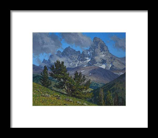 Landscape Framed Print featuring the painting Alpine Sentinels by Lanny Grant