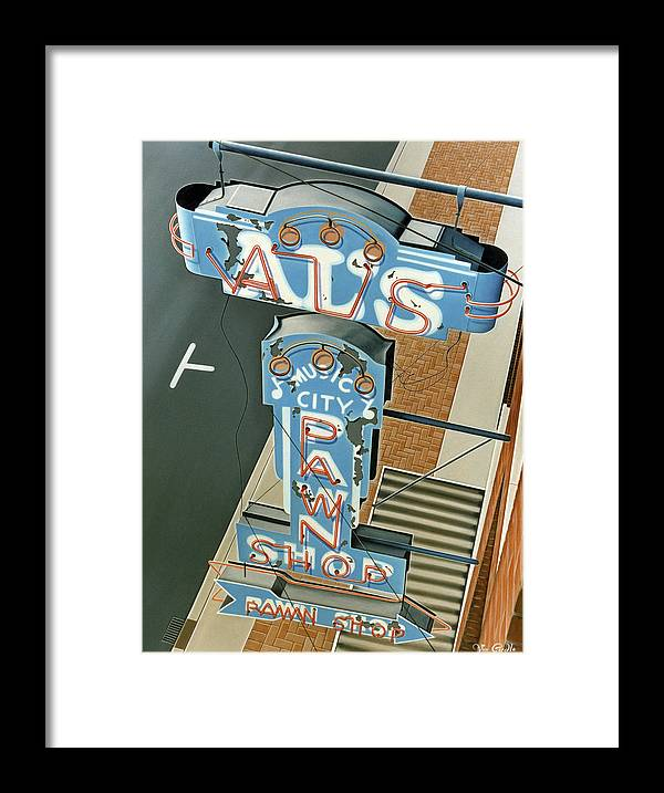 Sign Framed Print featuring the painting Al's by Van Cordle