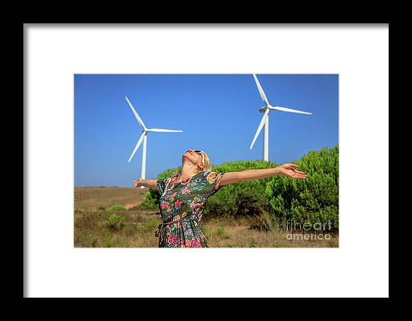 Wind Turbines Framed Print featuring the photograph Alternative Energy Concept by Benny Marty
