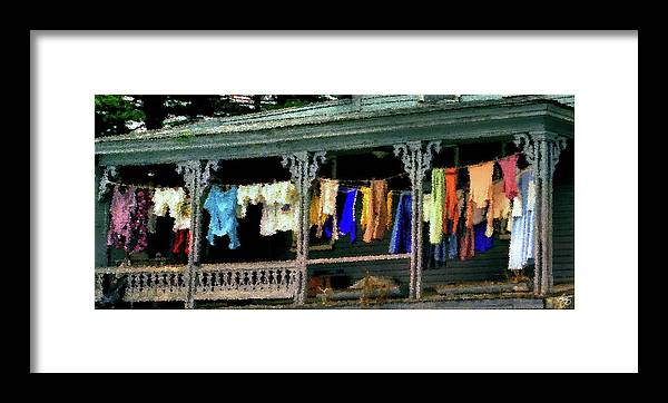 Color Framed Print featuring the photograph Alton Porch Wash Line No 1 by Wayne King