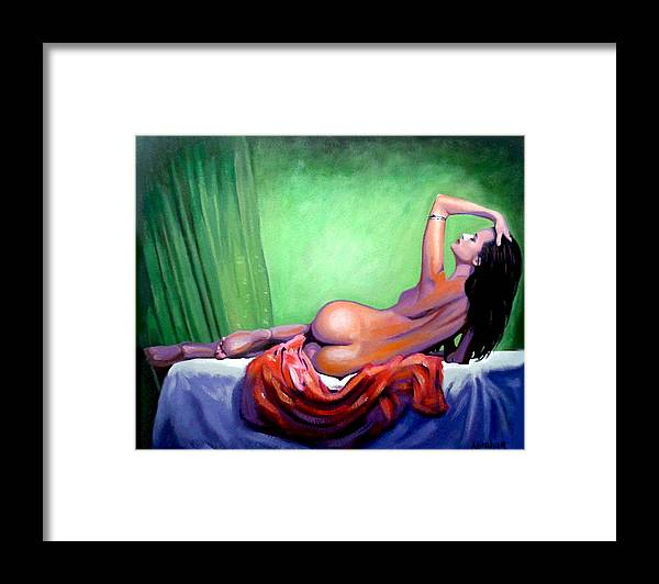 Nude Women Framed Print featuring the painting Aly by Jose Manuel Abraham