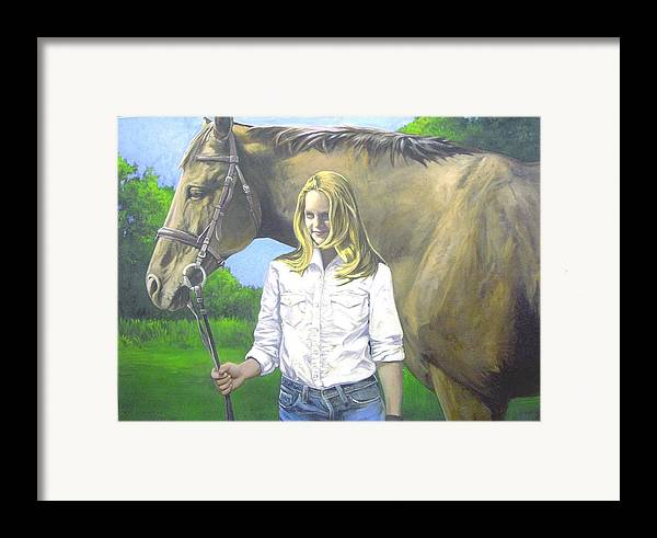Portrait Framed Print featuring the painting Alyssa And Joe by Steve Greco