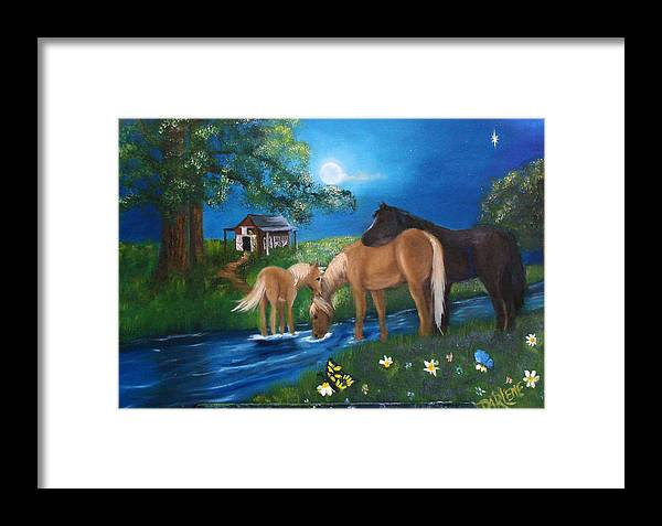 Midnight Framed Print featuring the painting Alyssas Horses by Darlene Green