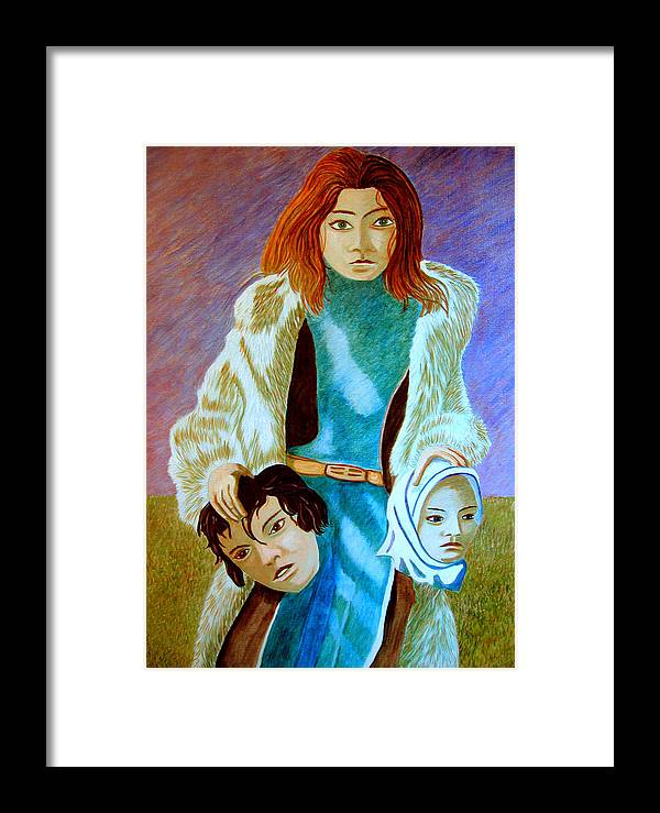 Identity (symbolic Art) Framed Print featuring the painting Am I My Body Does My Identity Change When I Change My Body By A Total Make Over by Tanni Koens