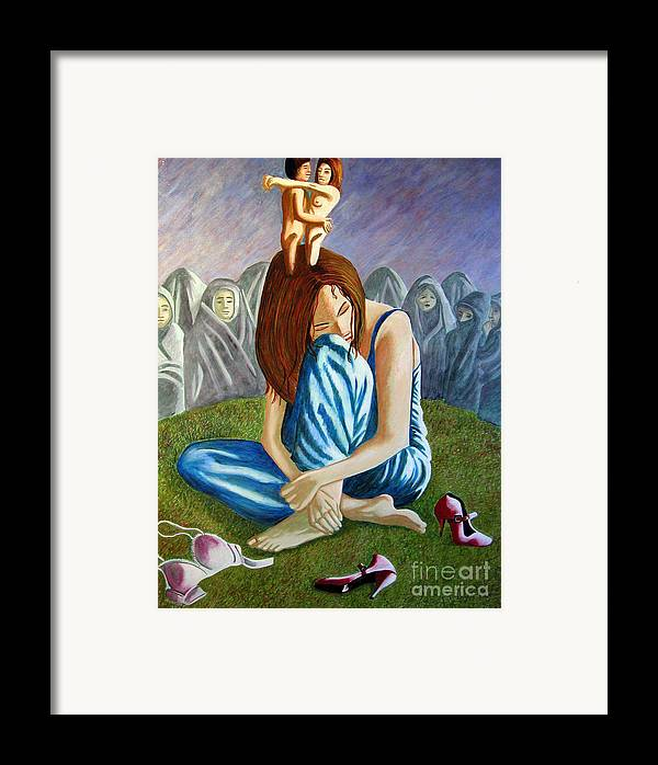 Identity (symbolic Art) Framed Print featuring the painting Am I My Religion My Beliefs by Tanni Koens