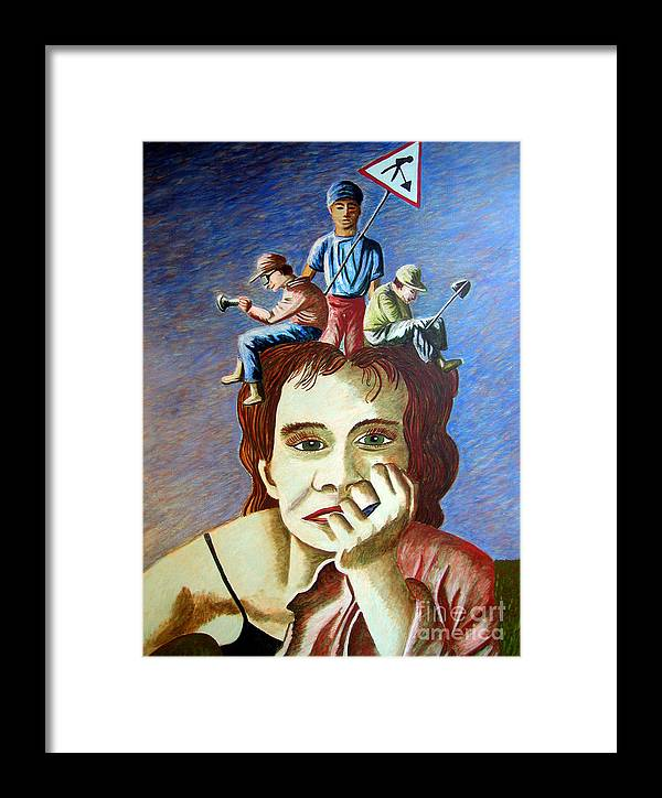 Identity (symbolic Art) Framed Print featuring the painting Am I My Thoughts by Tanni Koens