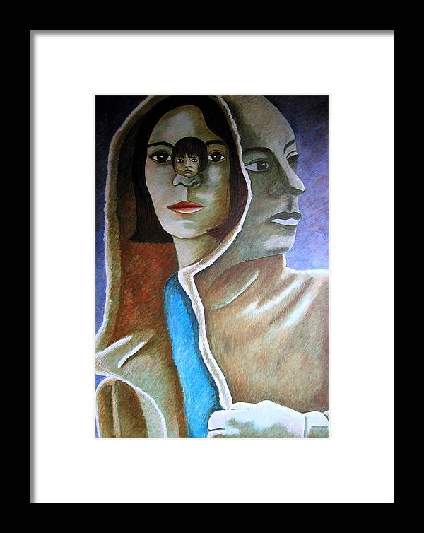Identity (symbolic Art) Framed Print featuring the painting Am I The Child I Used To Be Or The Woman I Am Now by Tanni Koens