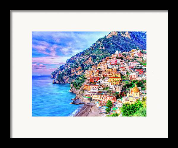 Amalfi Coast At Positano Framed Print By Dominic Piperata