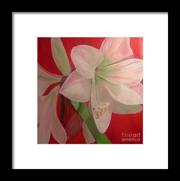 Red Framed Print featuring the painting Amarylis by Terri Thompson