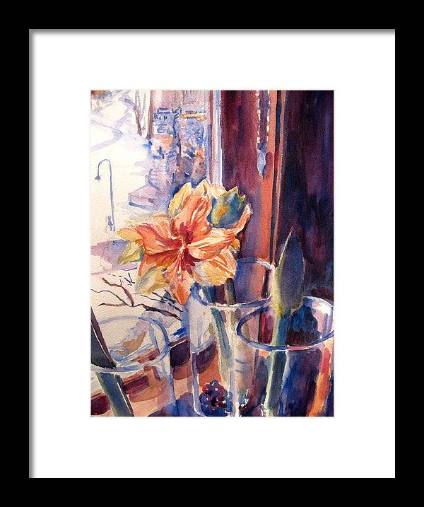 Amaryllis Framed Print featuring the painting Amaryllis In The Window by Joyce Kanyuk