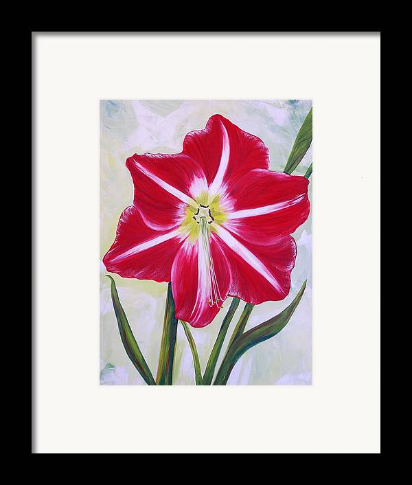 Flowers Framed Print featuring the painting Amaryllis by Murielle Hebert