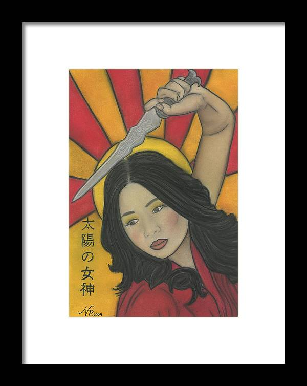 Portrait Framed Print featuring the painting Amaterasu by Natalie Roberts