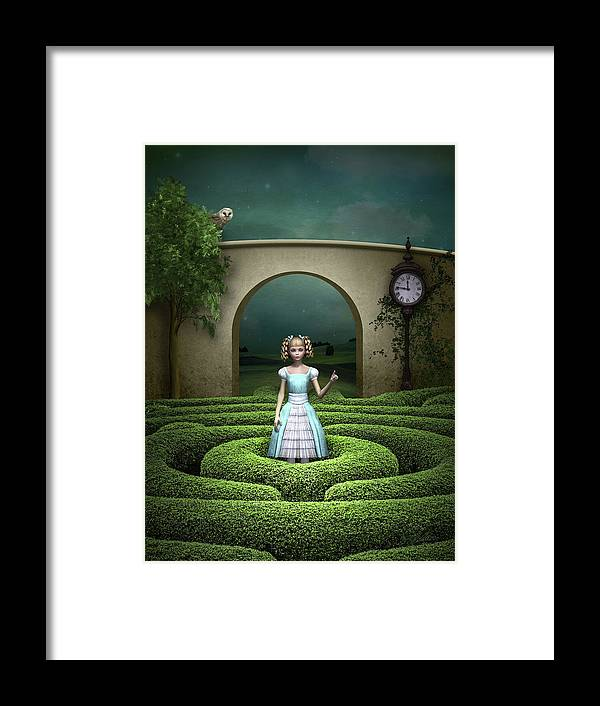 Alice Framed Print featuring the mixed media Amazing Maze by Britta Glodde