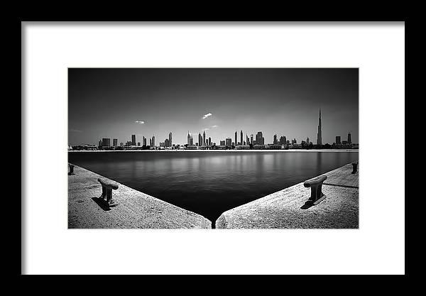 White Framed Print featuring the photograph Amazing Panorama Reflection Of Dubai Jumeirah Beach, Dubai, United Arab Emirates by Marek Kijevsky