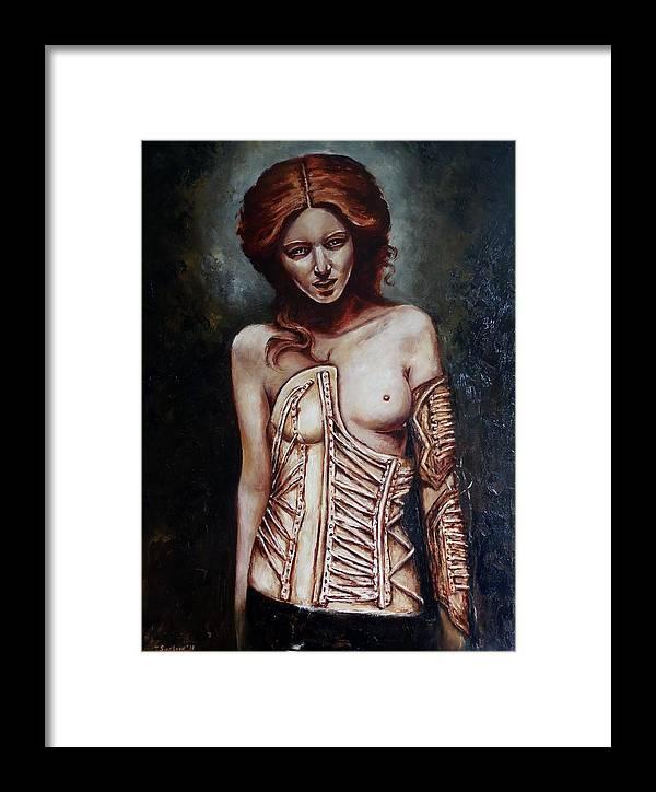 War Framed Print featuring the painting Amazon. by Tatiana Siedlova