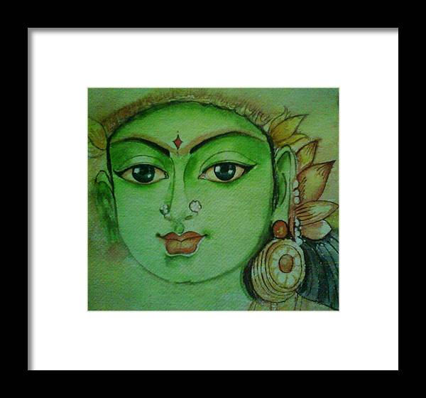 Indian Art Framed Print featuring the painting Ambal-hindu Goddesses by Nithya