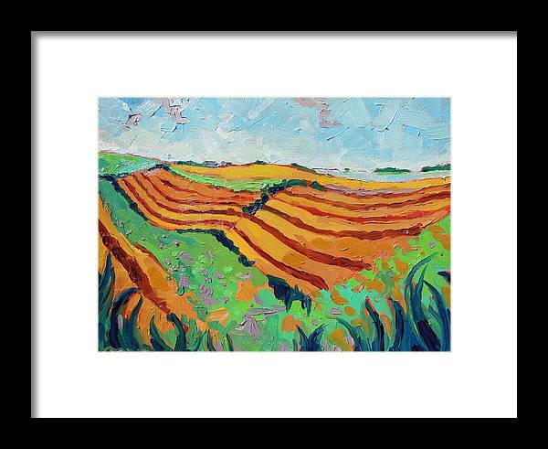 Framed Print featuring the painting Amber Pastures by Megan Smey