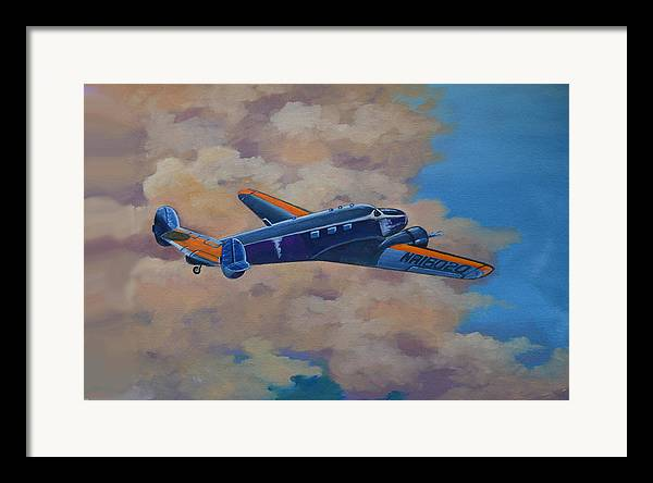 Aviation Artwork Framed Print featuring the painting Amelia Earheart by Murray McLeod