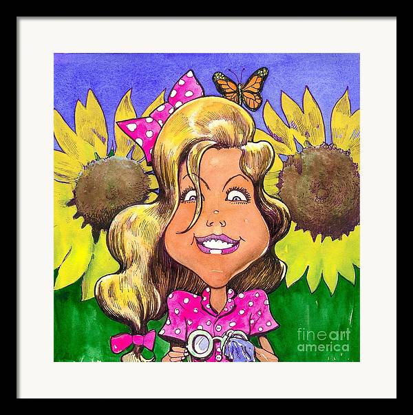 Kids Framed Print featuring the painting Amelia In Sunflowers by Robert Myers