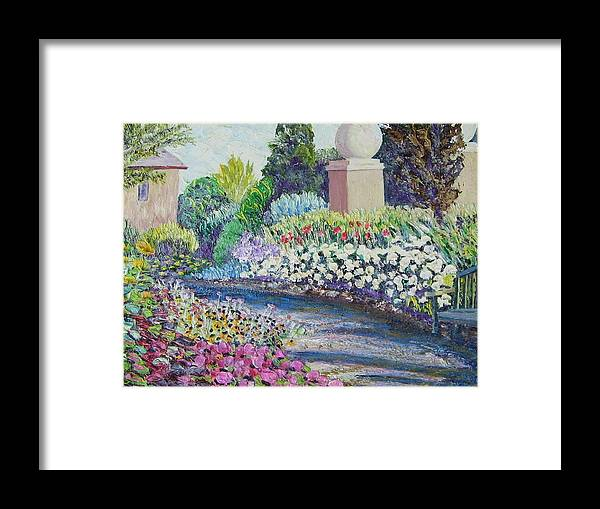 Flowers Framed Print featuring the painting Amelia Park Pathway by Richard Nowak