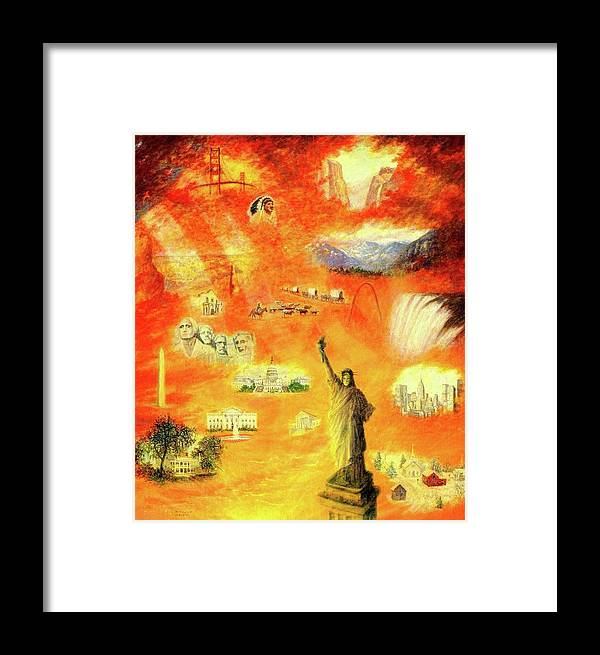 America Framed Print featuring the painting America At Sunset by Earl Mott