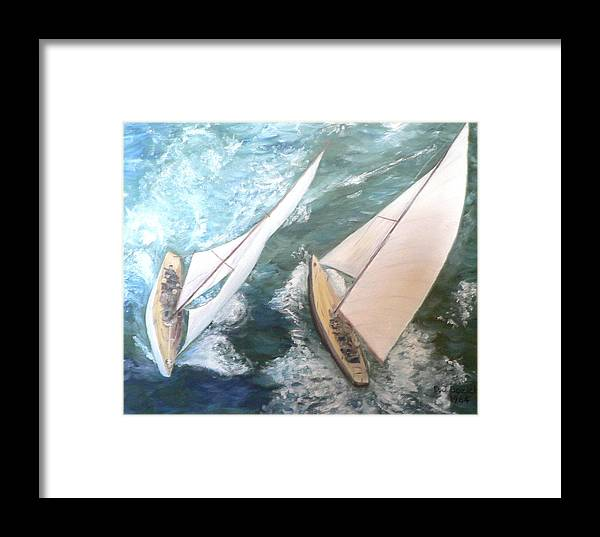 Sailing Framed Print featuring the painting America by Dan Bozich